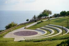 Lara City Park With Blue Sky And Sea. Modern Amphitheatre. Broadwalk In Antalya, Turkey.