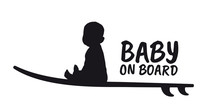 Vector Sticker Baby On Board. Silhouette Of A Surfer Sitting Baby. Isolated On White Background.
