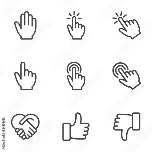 Fototapeta Hand gesture line icon set. Isolated vector illustration of human hands. obraz na płótnie