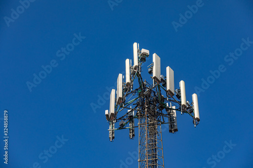 Photo Closeup view of wireless cellphone antenna tower