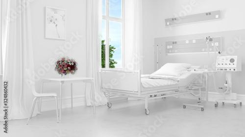 Helles weißes Krankenzimmer im Krankenhaus Canvas Print