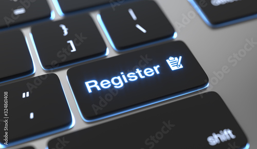 Register text on keyboard button. фототапет