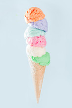 Stack Of Colorful Ice Cream Sc...