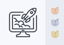 Rocket On Computer - Pastel Stroke Icons