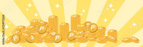 Fototapeta コイン風のポイントが積み重なる豪華なイメージ(横長バナー) obraz