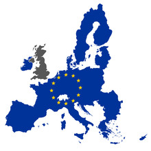 European Union Map Blue Color With Stars Without England