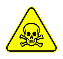 Poison Sign Head Skull In Yellow Triangle Vector Illustration