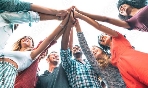 Αφίσα Young millenial friends stacking hand on high five move - Multiracial culture an
