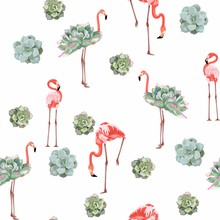 Colorful Floral Pattern With Flamingo And Exotic Succulent Illustration. Fashion Ornament On White Background.