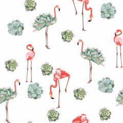 FototapetaColorful floral pattern with flamingo and exotic succulent illustration. Fashion ornament on white background.