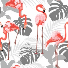 Fototapeta Do sypialni Pink flamingo, grey graphic palm leaves, white background. Floral seamless pattern. Tropical illustration. Exotic plants, birds. Summer beach design. Paradise nature.