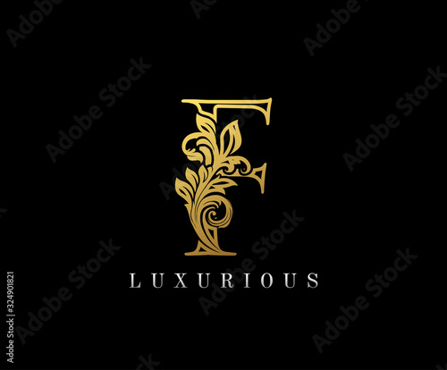 Gold Letter F Logo. F Letter Design Vector with Golden Colors and Floral Hand Drawn. Wall mural
