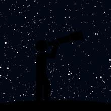 Astronomer Looking Through Telescope. Man Looking Through Huge Telescope Icon