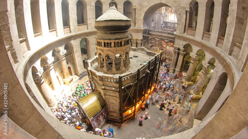 The Holy Sepulchre Church inside from top in Jerusalem timelapse. Wallpaper Mural