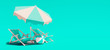 Two beach chairs with parasol on turquoise summer background 3D Rendering