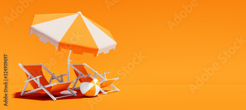 Two beach chairs with parasol on lush orange summer background 3D Rendering Fotobehang