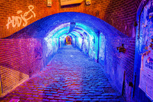 Utrecht, Netherlands - January 06, 2020. Ganzenmarkt Tunnel With Blue UV Light