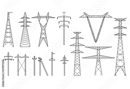 Photographie Tangent towers, high voltage electric pylons, power transmission line, types of