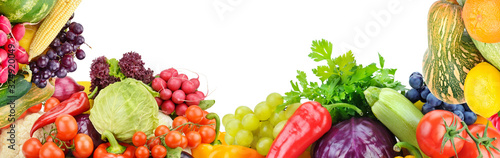 Frame of set vegetables and fruits on white background. Free space for text.