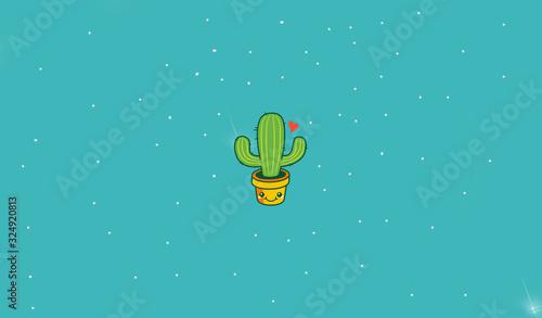 cactus animado con fondo azul Canvas Print