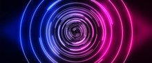 Dark Futuristic Neon Background. Light Center, Neon Circle. Rays And Lines, Geometric Shapes.