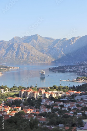 Beautiful ocean and mountain views of the Bay of Kotor in Montenegro