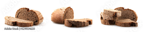 Foto Fresh black sliced bread on white background