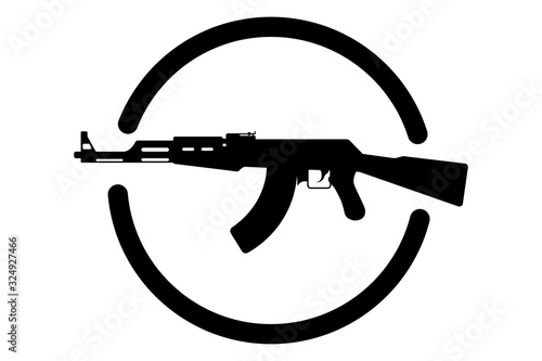 AK 47 emblem. Vector icon of a Kalashnikov assault rifle Canvas Print