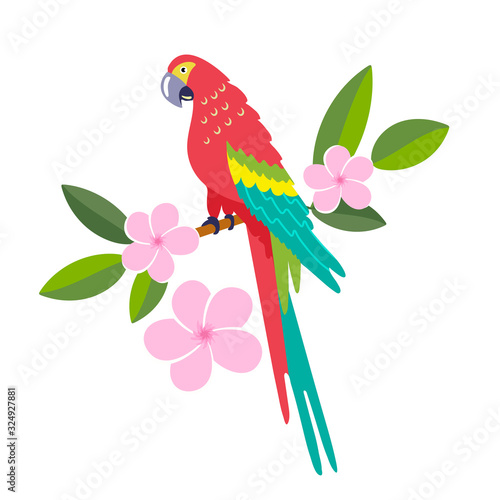 Obraz na plátně Parrot sits on a branch with flowers