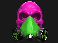 Pink Skull Wearing Green Biohazard And Radiation Protective Mask