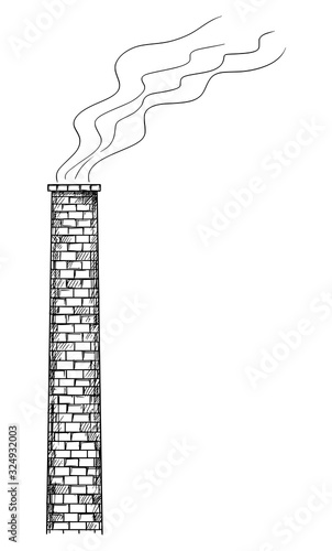 Vector cartoon drawing conceptual illustration old smoking factory smokestack or chimney Fototapete