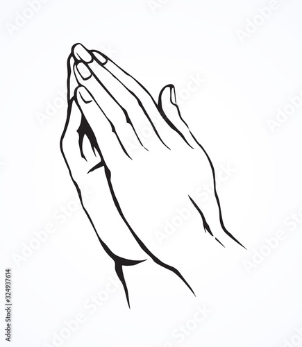 Cuadros en Lienzo Praying hands. Vector drawing