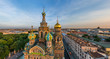 Panoramic aerial view of the Church of the Savior on Blood, St. Petersburg, Russia