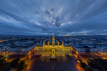 Aerial View Of The Vienna City Hall At Night, Austria
