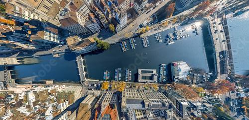 Aerial view of the Limmat River, Zurich, Switzerland