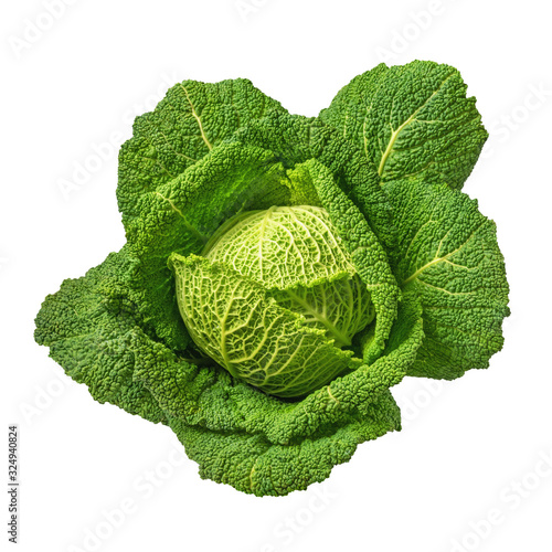 Green vegetables. Savoy cabbage head isolated on white background Tableau sur Toile