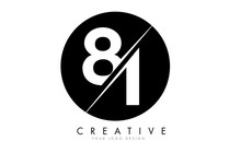 81 8 1 Number Logo Design With A Creative Cut And Black Circle Background.