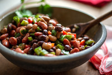 Close Up Of Three Bean Salad With Cumin Vinaigrette Served In Bowl