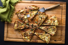 Directly Above View Of Leeks And Spinach Kasha Frittata