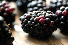 Blackberries Placed On Table