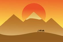 Caravan In Desert On Backgroun...