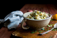 Mashed Potato Salad On Wooden Board
