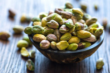 Bowl Of Pistachios On Table