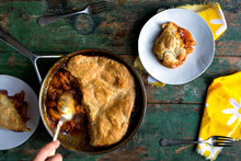 Peach Pot Pie In Frying Pan