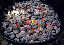Close Up View Of Glowing Coals...