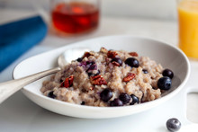 Tilt Shift View Of Bulgur With Blueberries And Pecans