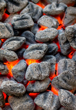 Close Up View Of Glowing Coals