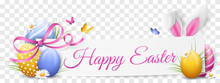 Happy Easter Paper Banner With...