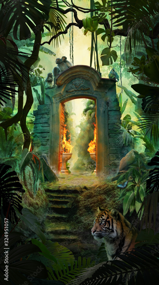 Fototapeta Beautiful dreamy tropical landscape with ancient gate, jungle with tiger, snake and monkeys