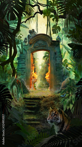 Beautiful dreamy tropical landscape with ancient gate, jungle with tiger, snake Wallpaper Mural